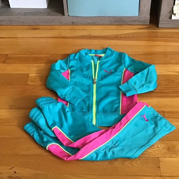 Puma Girls Pink//turquoise Zip Front 2 Pc Set Track Suit ~3T~ NWT